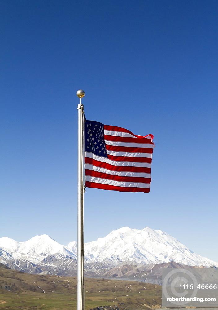 American Flag In Denali National Park With Denali In The Background, Interior Alaska In Summertime, Alaska, United States Of America