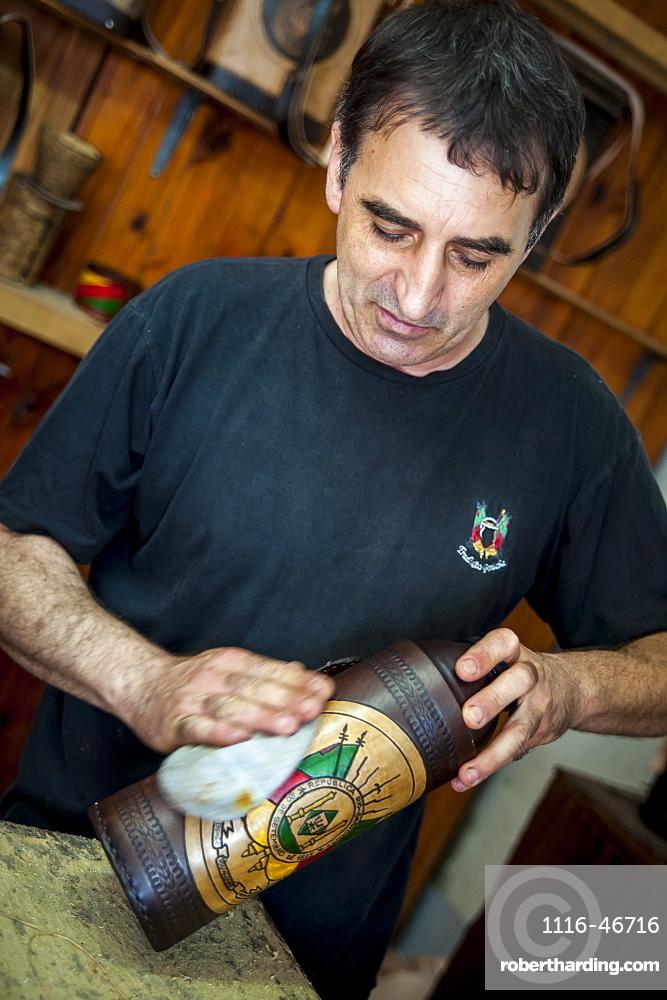 A Man Polishing A Handmade Craft, Pelotas, Rio Grande Do Sul, Brazil