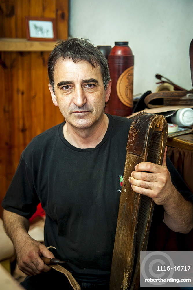 A Man Crafting From Leather, Pelotas, Rio Grande Do Sul, Brazil