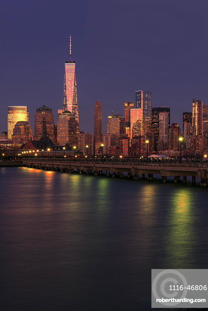 Manhattan Skyline At Sunset, Liberty State Park, Jersey City, New Jersey, United States Of America