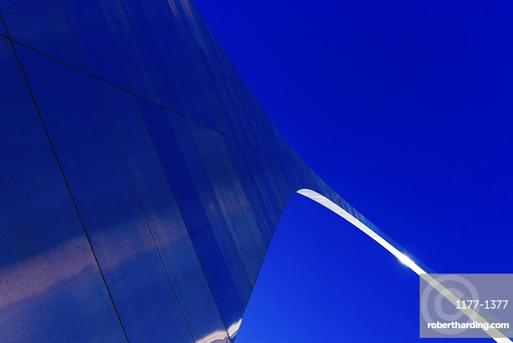 Low angle view of Gateway Arch against clear blue sky