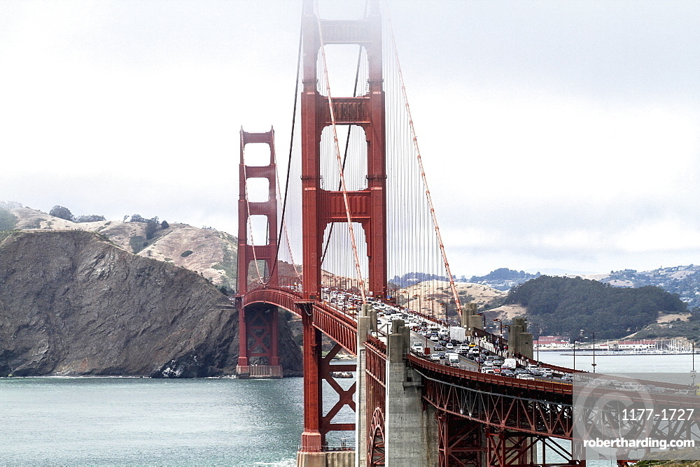 High angle view of Golden Gate Bridge over bay of water against sky, San Francisco, California, USA