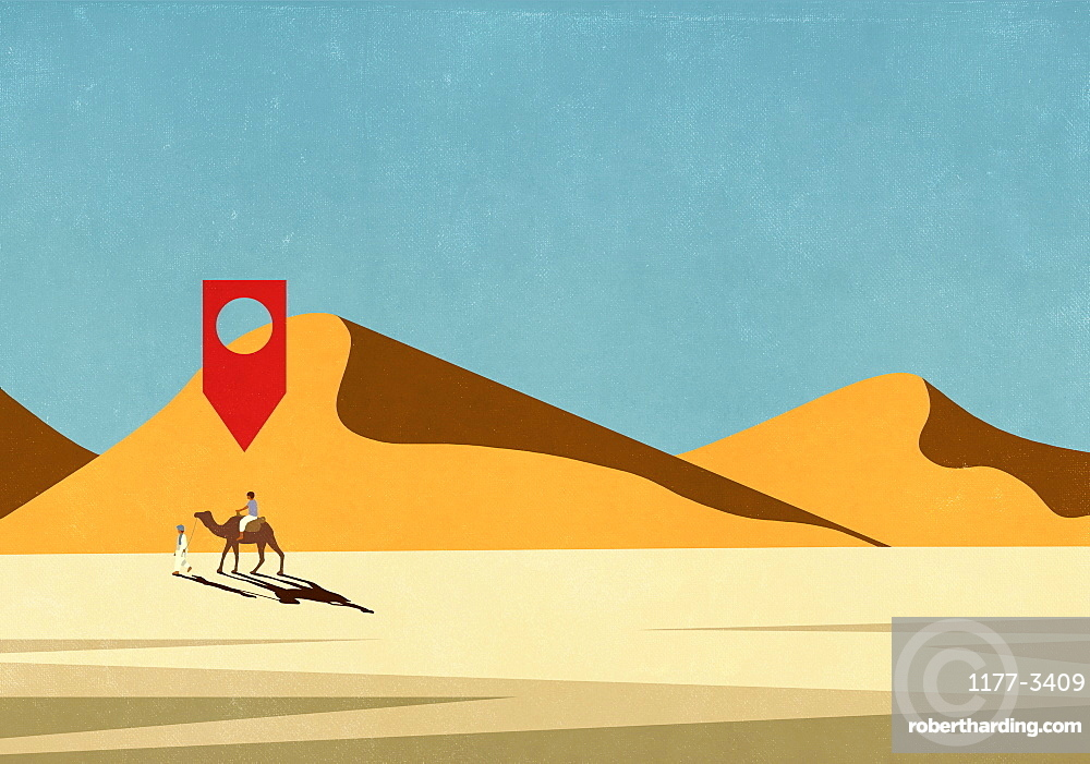 Map pin icon above man riding camel in desert