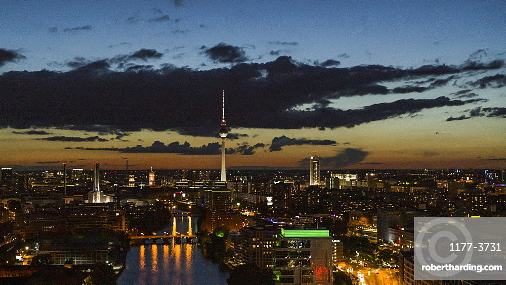 Berlin cityscape and Television Tower illuminated at night, Germany