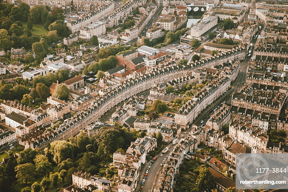 Aerial view cityscape, Bath, Somerset, UK