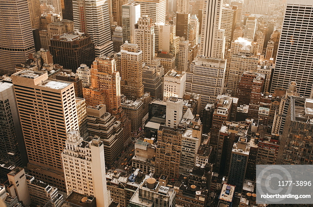 Aerial view highrise buildings, New York City, New York, USA