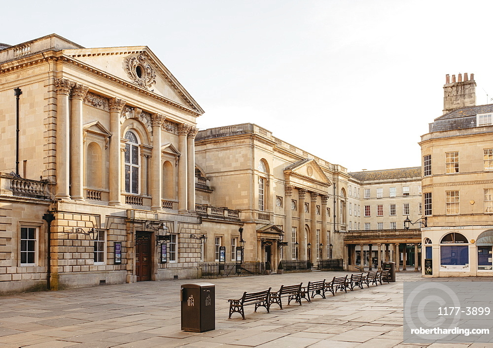 Ornate buildings and empty town square, Bath, Somerset, UK