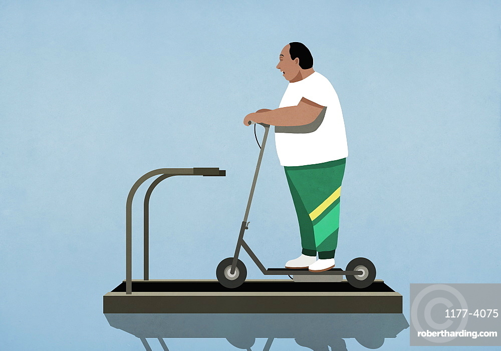 Overweight man riding electric scooter on treadmill