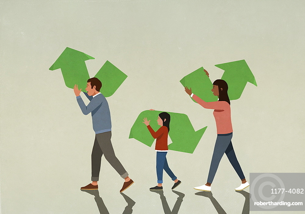 Family carrying pieces of green recycling symbol
