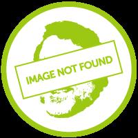 Two people cycling in a barren landscape