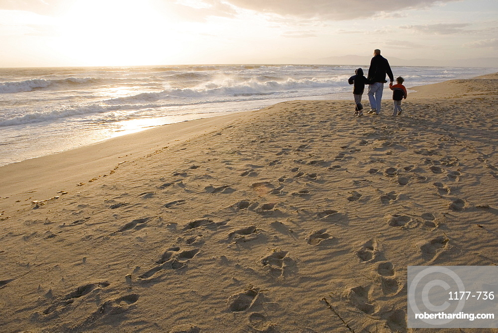 A family walking on the beach