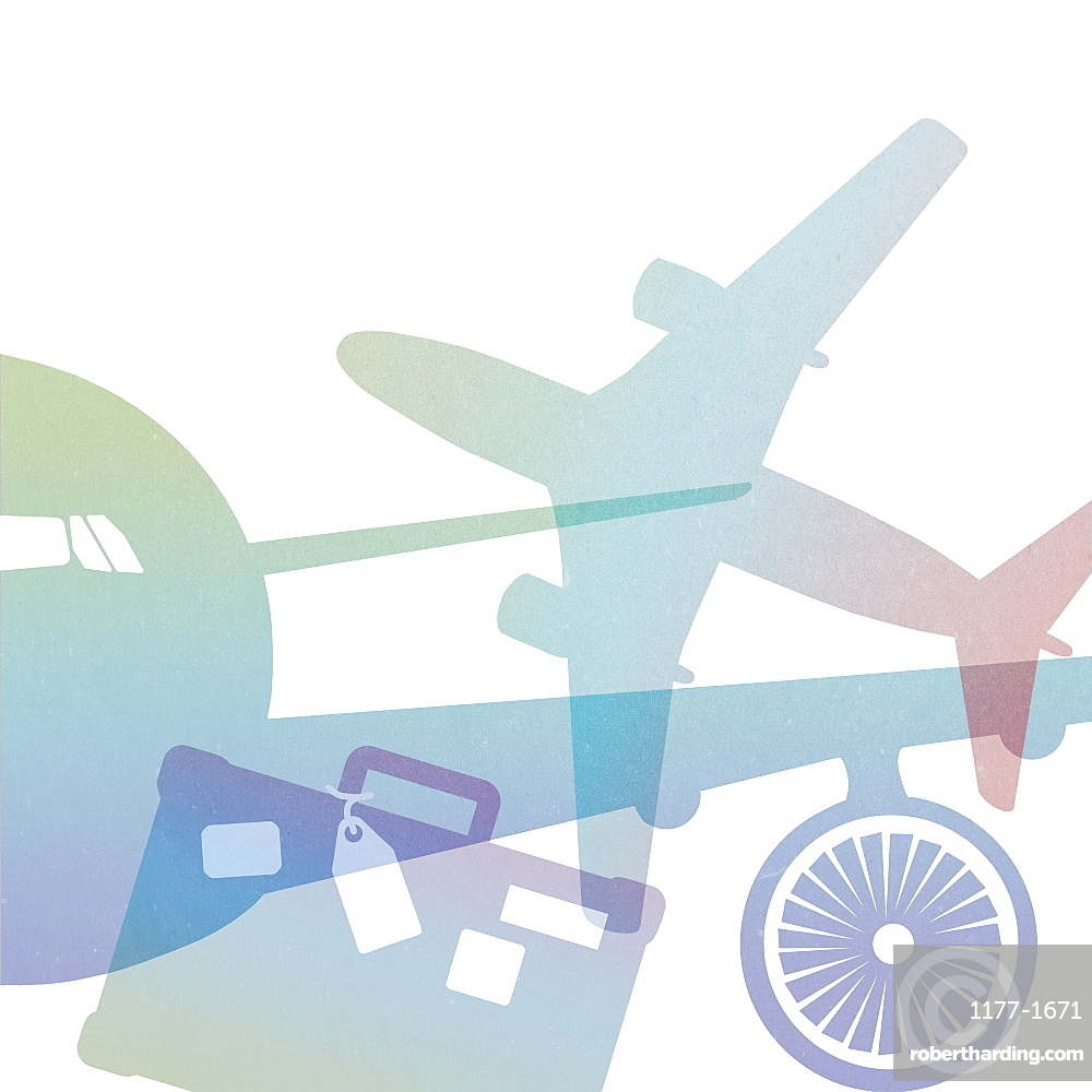Illustration of airplanes and suitcase against white background