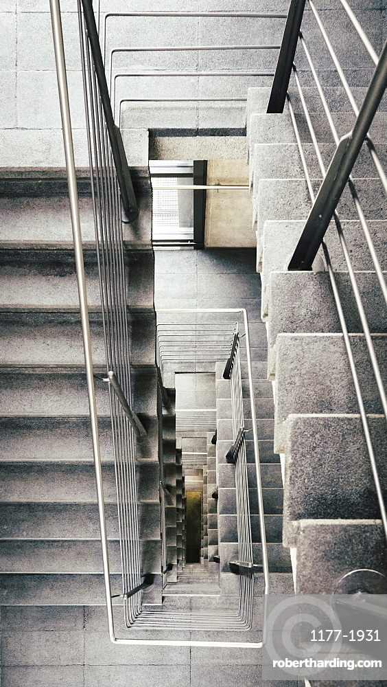 View from above concrete stairs
