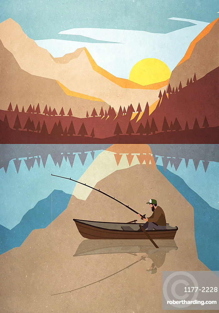 Man fishing in boat on tranquil mountain lake