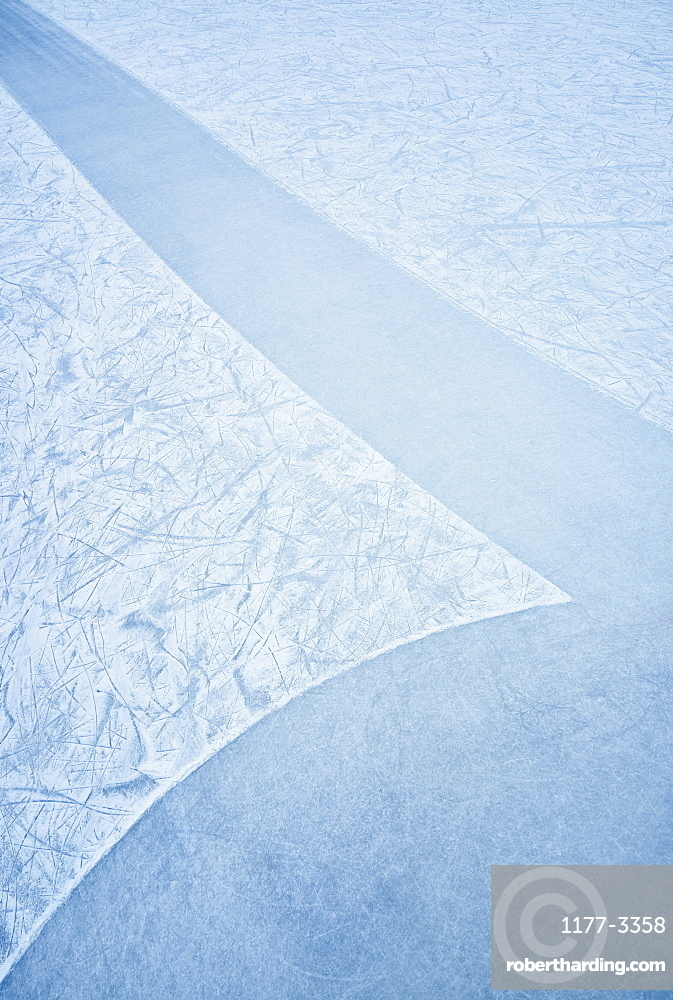 Pattern in blue ice rink