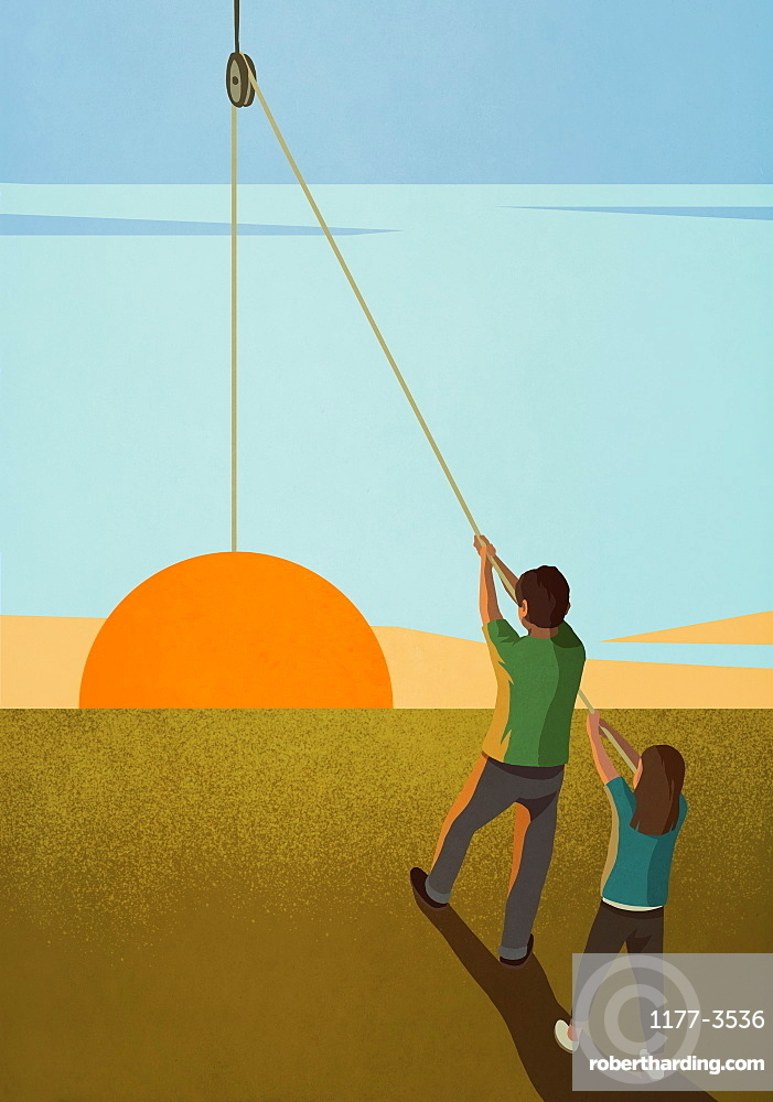 Brother and sister hoisting sunrise on pulley