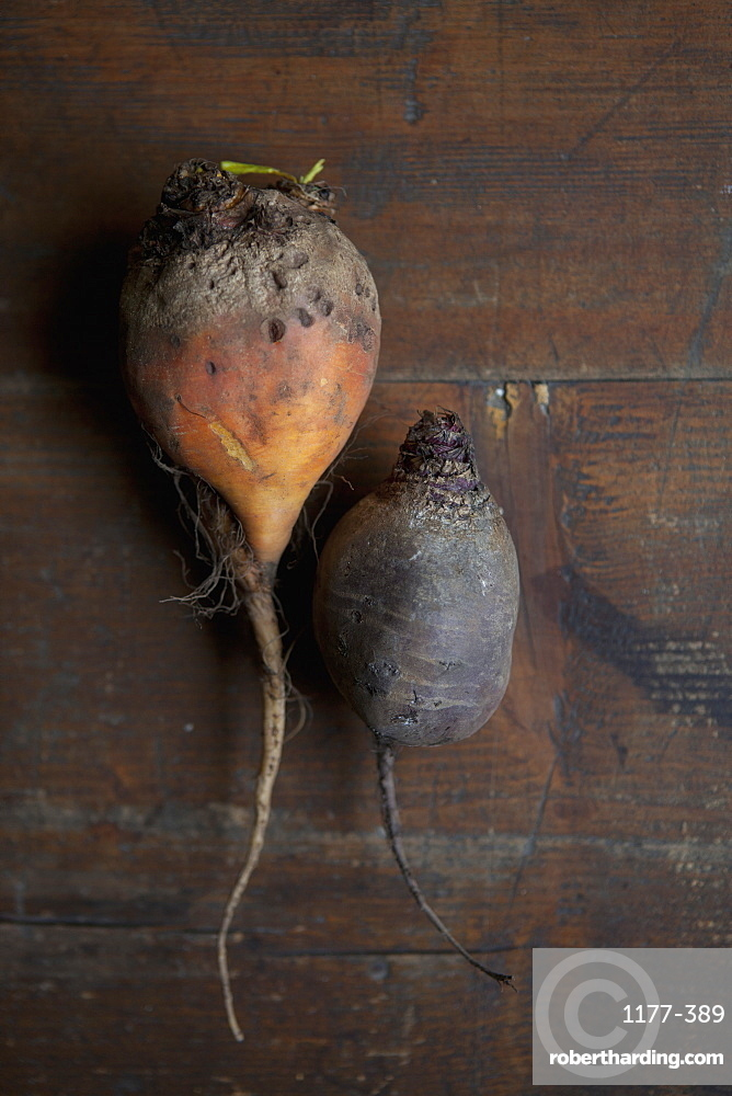 Directly above shot of root vegetables on table