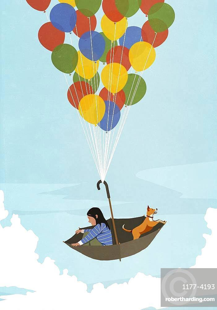 Girl and dog floating in balloon umbrella in blue sky
