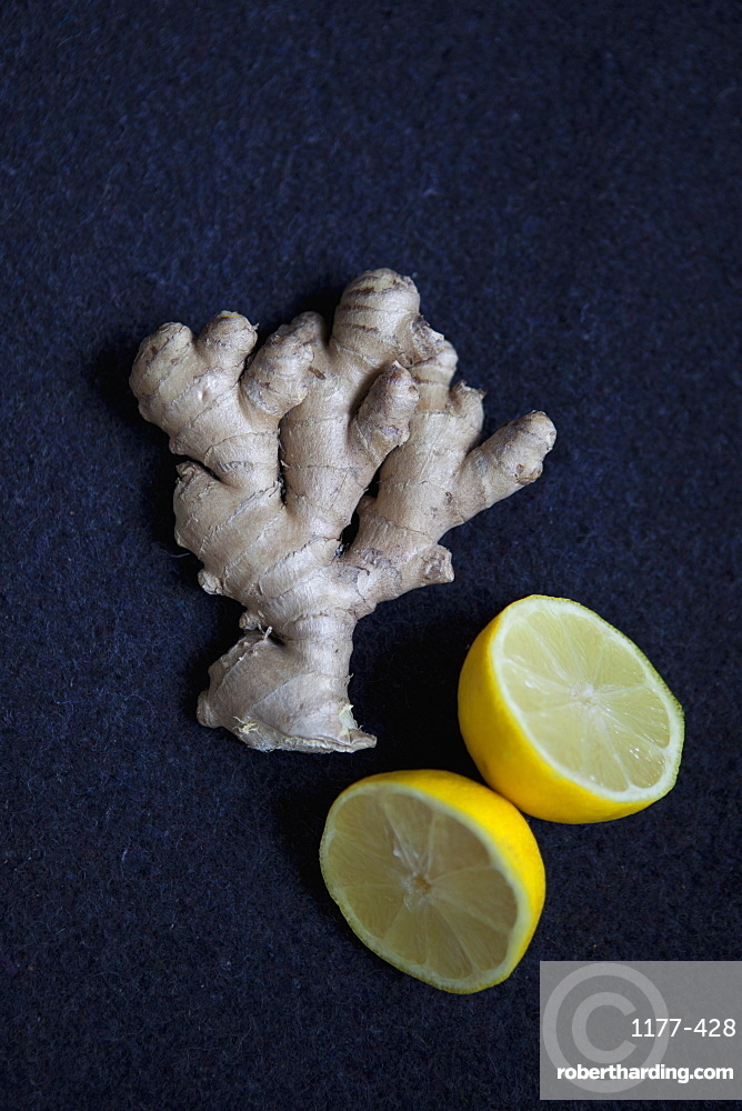 Close-up of ginger and lemon