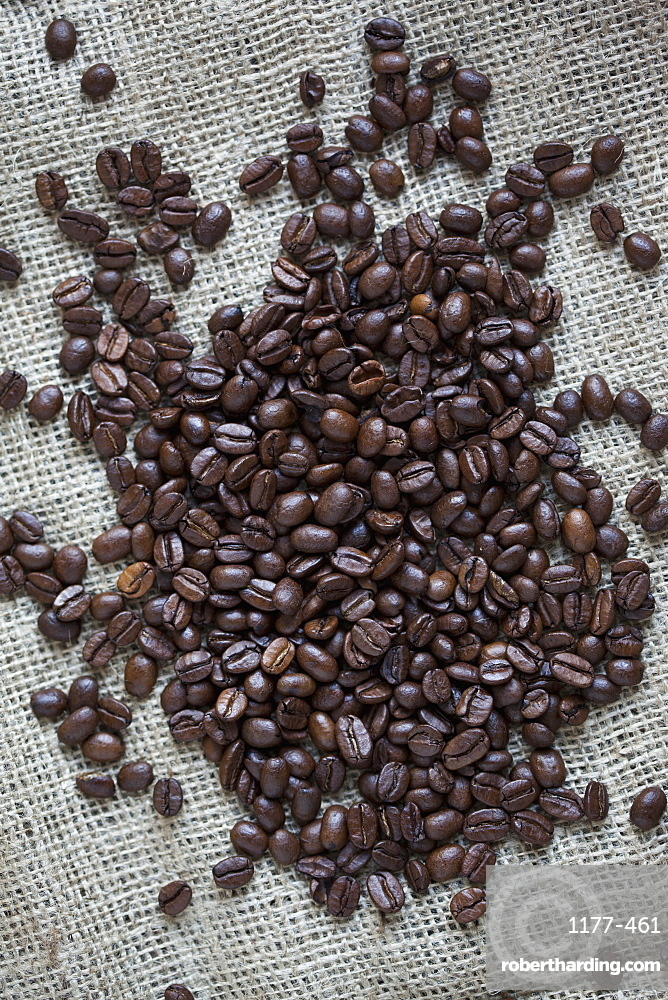 Close-up of coffee beans on sack