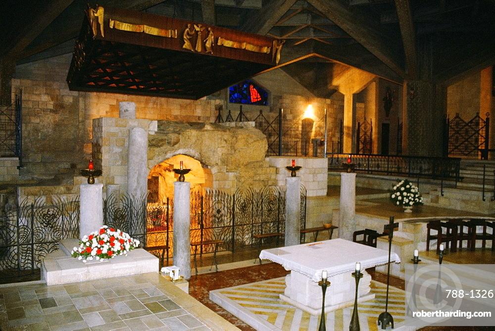 Interiors of a basilica, Basilica Of The Annunciation, Nazareth, Israel