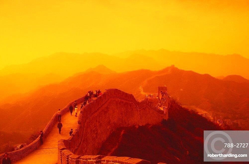 High angle view of a surrounding wall, Great Wall Of China, China