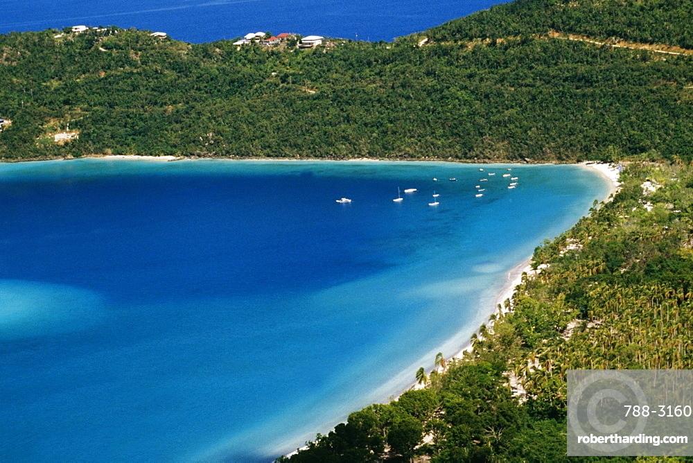 Aerial view of the coastline, S.S. Norway, Magens Bay, St. Thomas, U.S. Virgin Islands