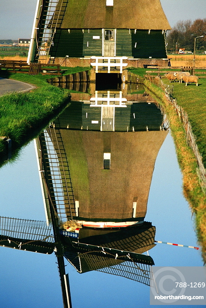 Low angle view of a traditional windmill, Volendam, Netherlands