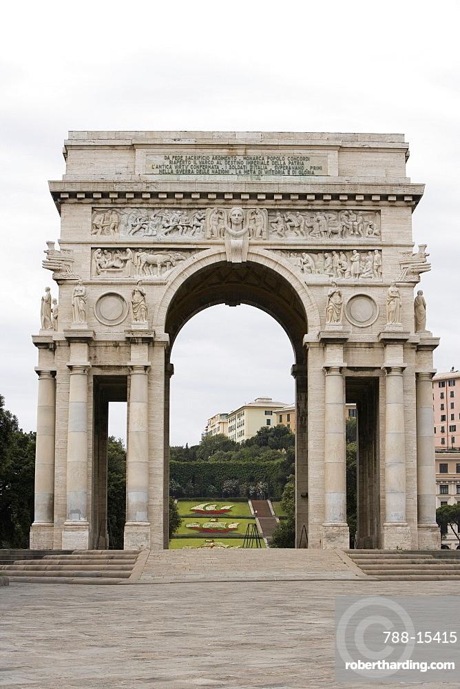Entrance of a park, Scalinata Delle Caravelle, Piazza Della Vittoria, Genoa, Liguria, Italy