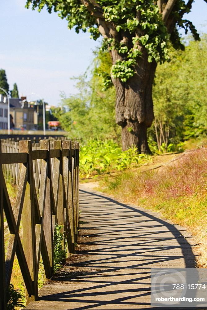 Wooden fence in a park, Le Mans, Sarthe, Pays-de-la-Loire, France