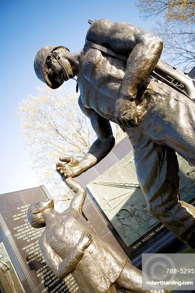 Low angle view of the Seabees Can Do Memorial Statue, Washington DC, USA