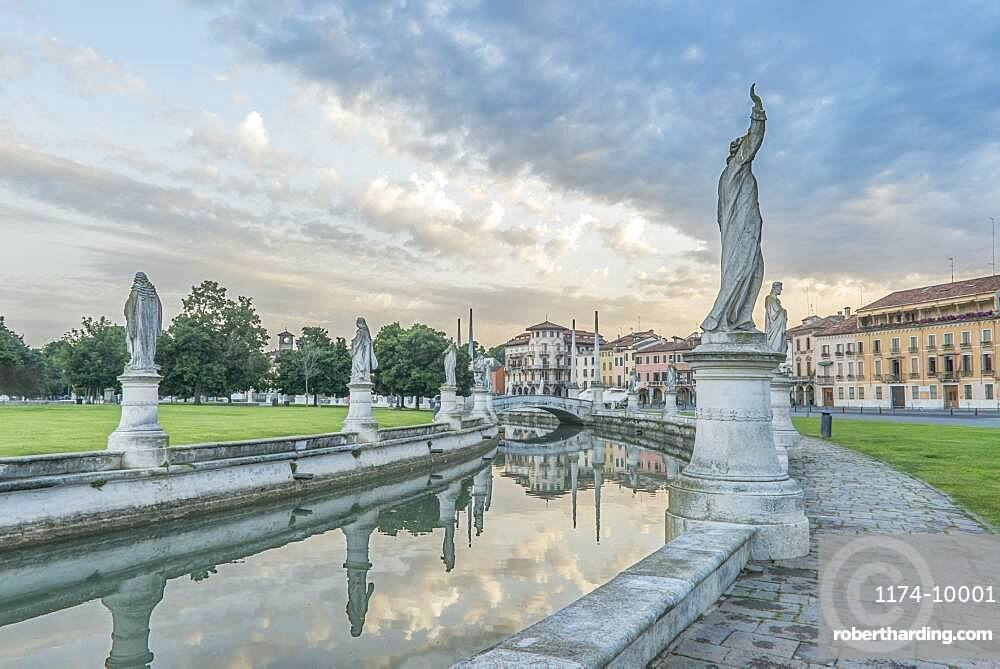 The Prato della Valle town square with sculptures and a canal, Veneto, Italy.