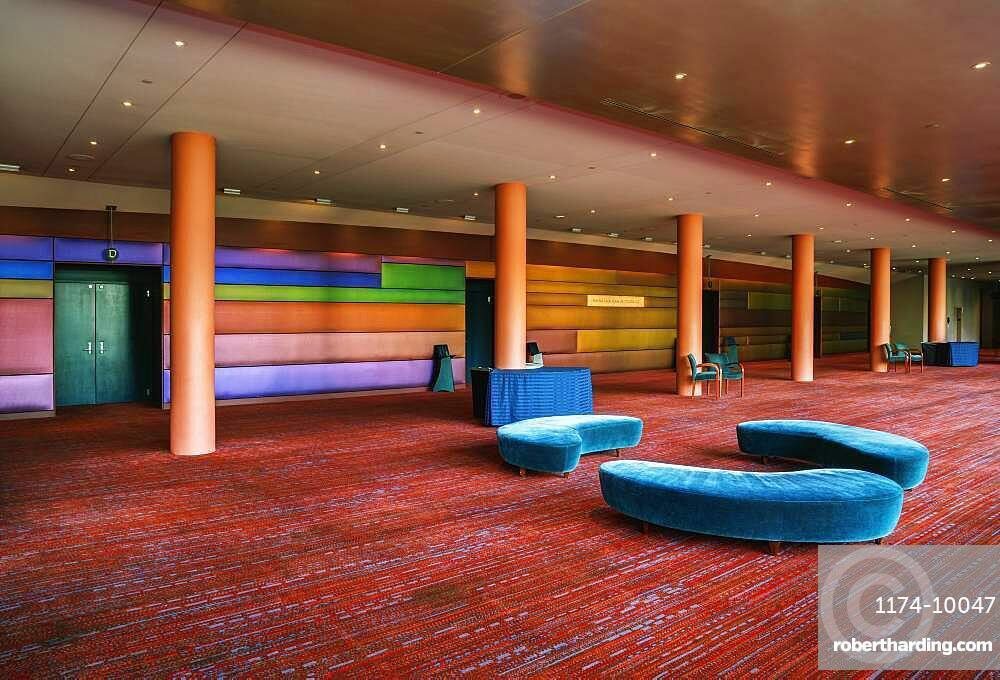A large open space in a hospitality or business venue, conference centre hotel, public space.