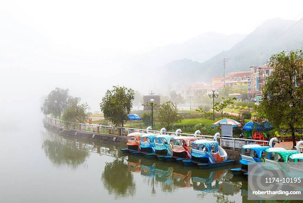 Swan pedalos on Sapa lake, Sapa, North Vietnam
