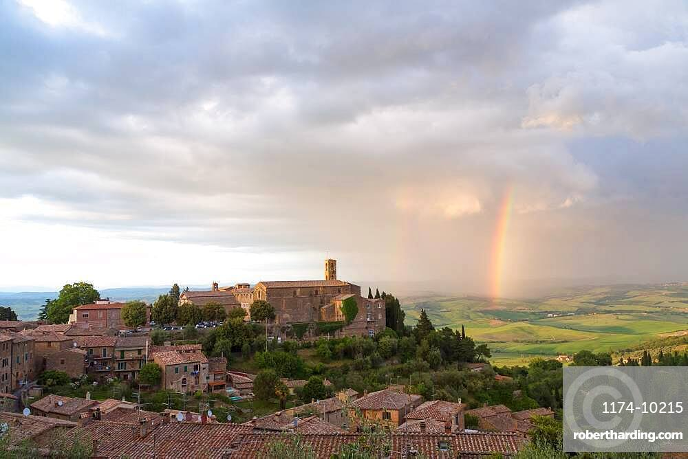 Rainbow over the hilltop town of Montalcino, Tuscany, Italy