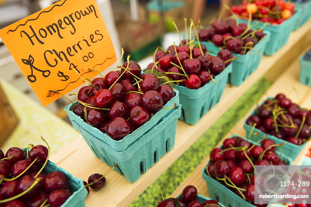 A farm stand, with displays of punnets of fresh fruit. Cherries, Woodstock, New York, USA