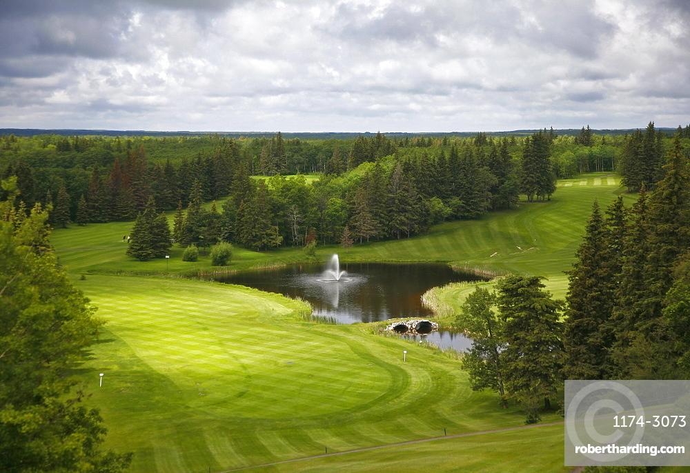 View from a height over a golf course fairwayGolf course, Saskatchewan, Canada