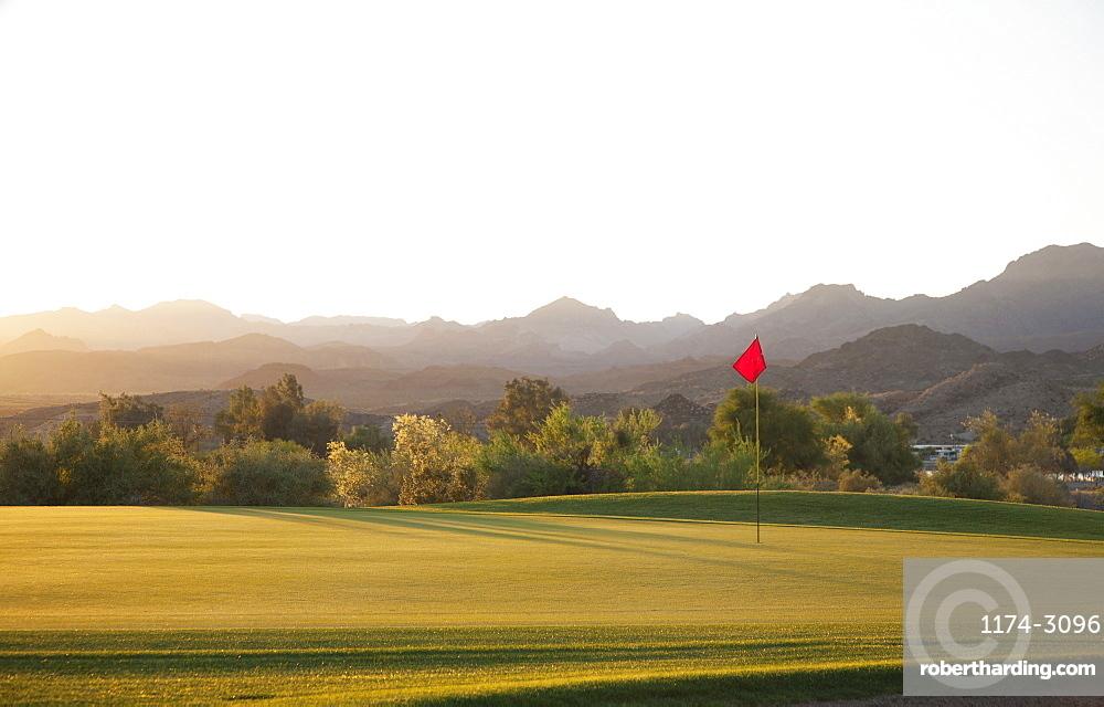 A golf course in Arizona, and a view to mountains, Desert golf, Arizona, USA