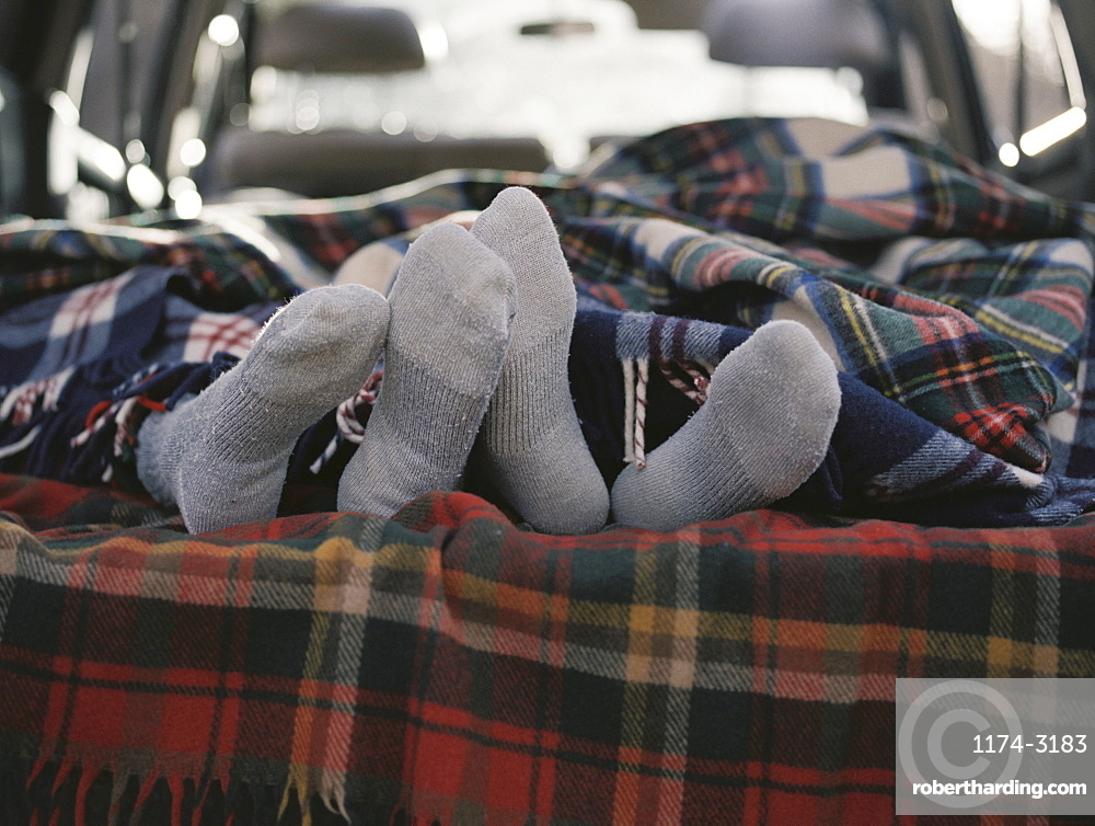 Couple sleeping in the back of their car, Millcreek, Utah, United States of America