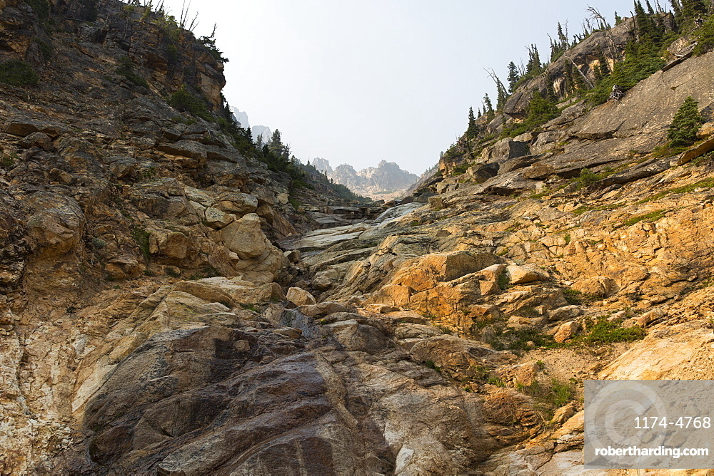 Towering cliffs and mountains along the Pacific Crest Trail, North Cascades, Washington, United States of America
