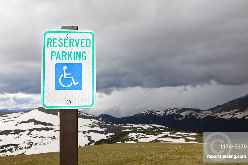 Handicap Parking Sign at a National Park, Rocky Mountain National Park, Colorado, United States of America