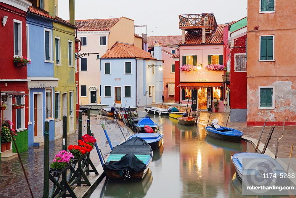 Boats in Burano Canal During a Rain Shower, Burano, Veneto, Italy