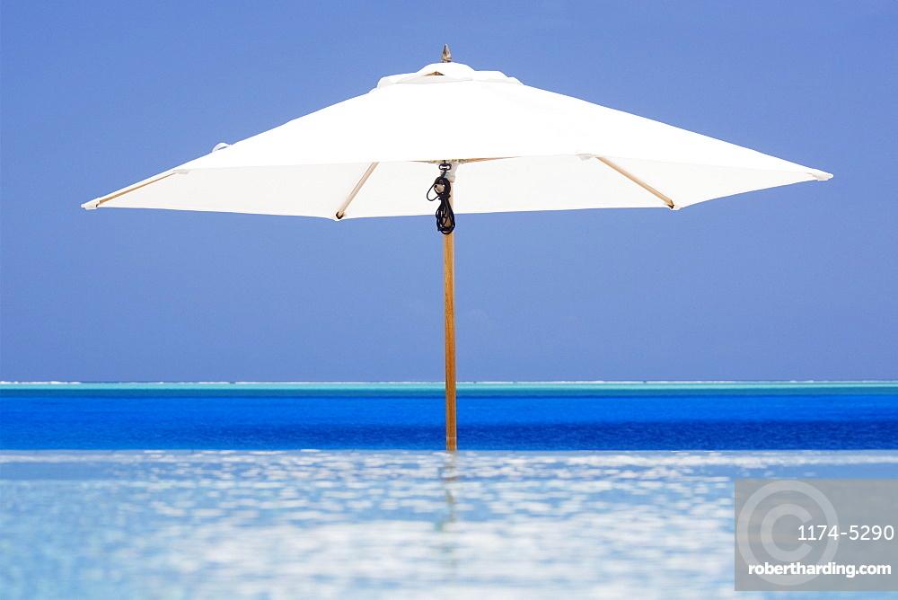 Open Beach Umbrella in Water, Bora Bora, Tahiti, French Polynesia