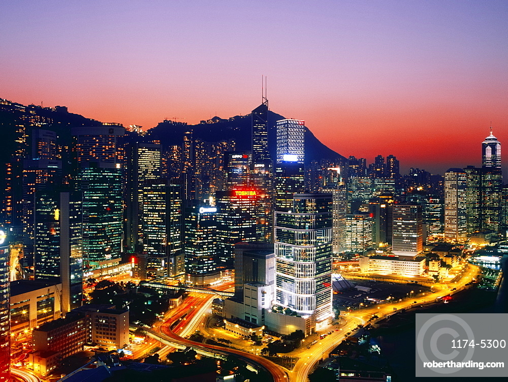 Downtown Hong Kong at Dusk, Hong Kong, China