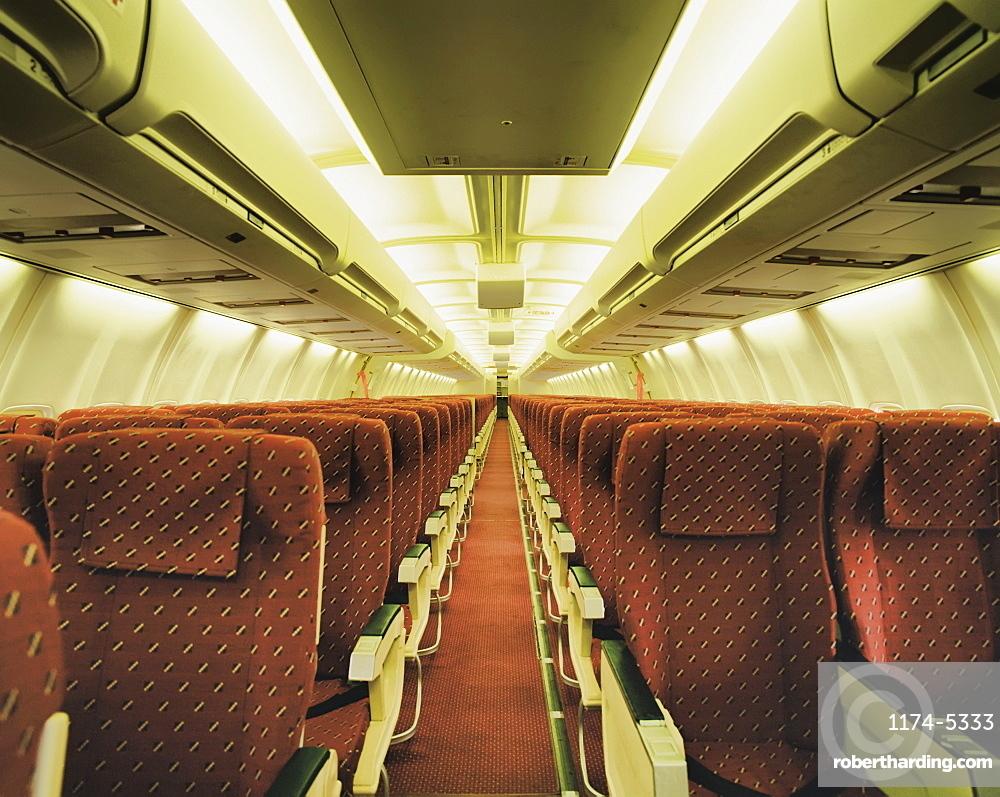 Empty airplane, London, England, UK