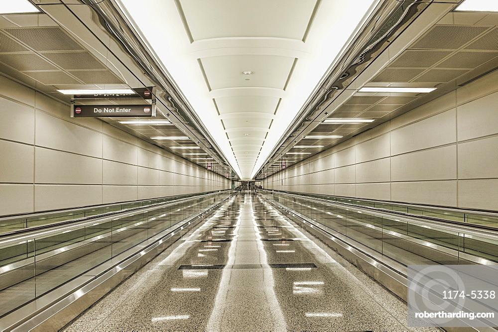 Empty airport walkway, Arlington, Virginia, United States of America