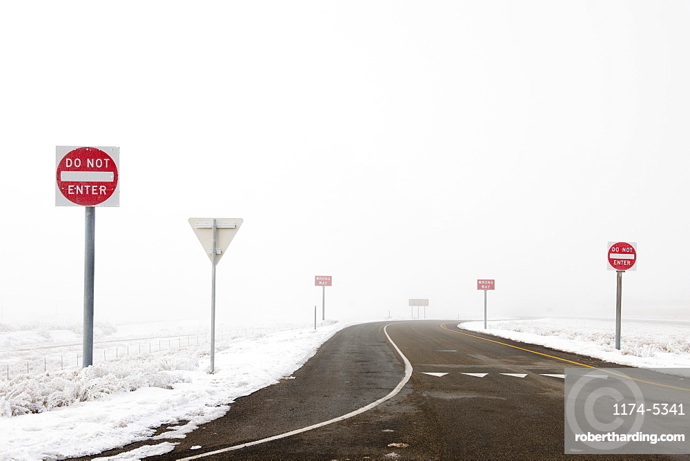 'Do Not Enter' Signs by Snowy Road, Salt Lake City, Utah, United States of America