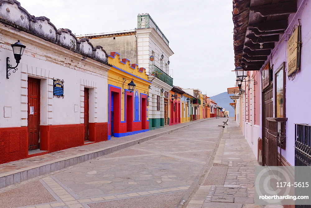 Colorful Buildings on Street, Chiapas, Mexico