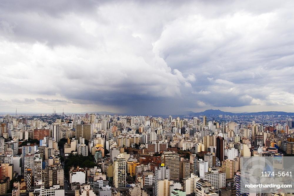 Rain Shower Approaching Downtown Sao Paulo, Sao Paulo, Brazil