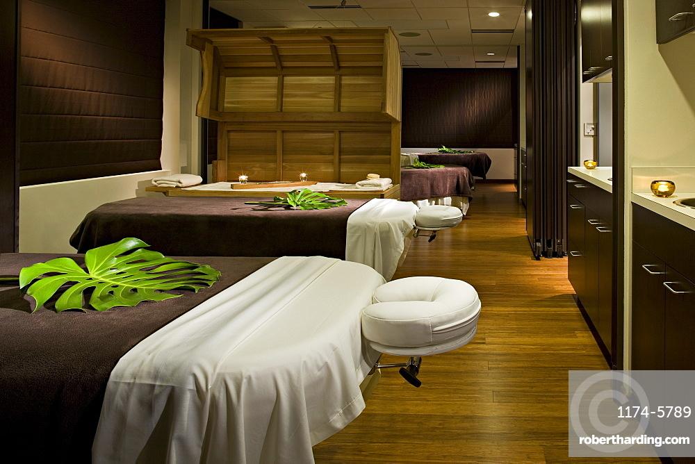 Massage tables in empty spa, Seattle, Washington, USA